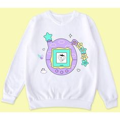 KAWAII-Tamagotchi jumper ($35) ❤ liked on Polyvore featuring tops, sweaters, jumper top and jumpers sweaters