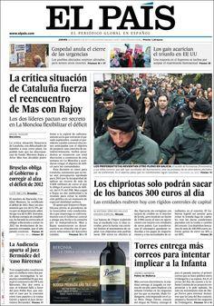 Los Titulares y Portadas de Noticias Destacadas Españolas del 28 de Marzo de 2013 del Diario El País ¿Que le parecio esta Portada de este Diario Español?