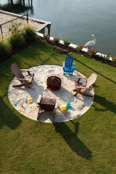 Hottest fire pit ideas brick outdoor living that won't break the bank. Find beautiful outdoor diy fire pit ideas and fireplace designs that let you get as simple or as fancy as your time and budget allow for building or improve a your backyard fire pit. Backyard Beach, Fire Pit Backyard, Backyard Landscaping, Backyard Ideas, Landscaping Ideas, Firepit Ideas, Patio Ideas For Summer, Nautical Landscaping, Beach Entry Pool
