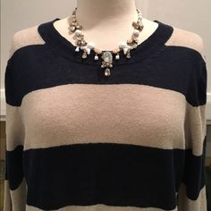 JCrew Stripe Sweater Beautiful JCrew sweater with 3/4 inch sleeves. In Navy and beige colors. In Very Good condition.   J. Crew Sweaters