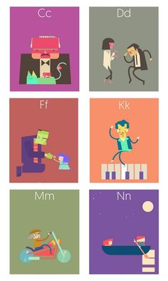 The most awesome ABC illustrations featuring iconic movie scenes.