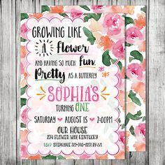 Butterfly Flower Garden Birthday Party Invite by CherryBerryDesign