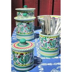 """Bonechi Imports - Deruta Galletto Green Canister (Large mug and 10"""" +12"""" serving bowls also pictured)"""