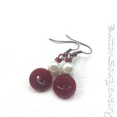 Burgundy and Pearl Vintage Button Earrings