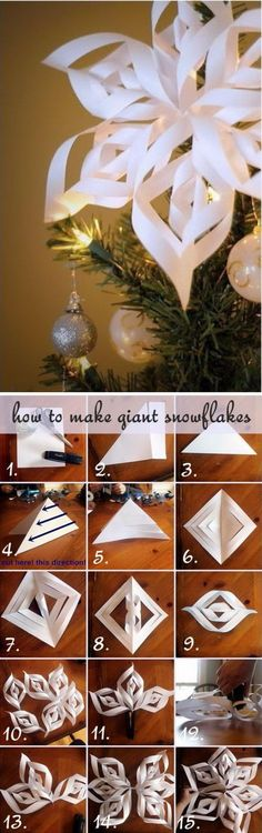 with cool paper for top of tree Giant Paper Snowflake Drzewo Topper. Diy Christmas Tree Topper, Diy Tree Topper, Paper Christmas Decorations, Christmas Art, Christmas Projects, Christmas Holidays, Christmas Ornaments, Christmas Ideas, Holiday Crafts