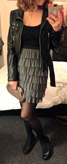 Clubbing outfit! Black tiered mini dress: Rugged Warehouse, $8; black pleather jacket: gift; mother-of-pearl necklace: gift; black dotted tights: Hue for Belk, $9; black heels: Macy's, $16; clutch: Accessorize, $10