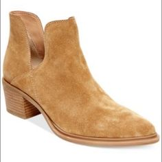 """Steven by Steve Madden Dextir Boots WORN ONCE, come with original box. Imported, upper suede (camel), leather (back), round closed toe booties, 2"""" heel, man made sole. Run a little big. I normally wear a size 5.5. Steven by Steve Madden Shoes Ankle Boots & Booties"""