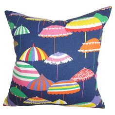 Cotton throw pillow with a multicolor umbrella motif and down-feather fill. Made in Boston.   Product: PillowConstruction ...