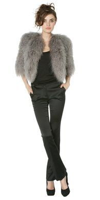 vaccaro cropped fur shrug $748