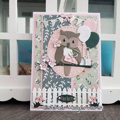Kids Birthday Cards, Handmade Birthday Cards, Handmade Cards, Animal Themed Birthday Party, Marianne Design Cards, Owl Card, Mini Scrapbook Albums, Baby Owls, Heartfelt Creations