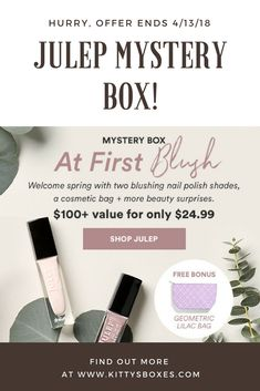 Julep Spring Mystery Box – $100+ in Beauty Products for only $24.99!  #julep #mysterybox  #beautybox #subscriptionbox #subscriptionboxblogger #kittysboxes