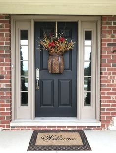 Best Spring Front Porch Decorating Ideas ⋆ Home & Garden Design House Front Door, House With Porch, House Doors, Front Door Decor, Front Porch, Colonial Front Door, Garage Doors, Entry Doors, Houses With Red Doors