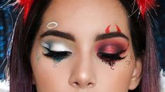 Looking for for inspiration for your Halloween make-up? Browse around this site for cool Halloween makeup looks. Maquillage Halloween Clown, Halloween Makeup Clown, Halloween Makeup Looks, Angel Make Up Halloween, Halloween Eyeshadow, Halloween Costumes, Cool Makeup Looks, Crazy Makeup, Awesome Makeup