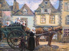 """JAMOIS Edmond Victor (1876-1975) """" Le départ de la mariée en ville"""