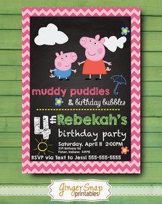 Peppa Pig Birthday Invitation Chalkboard - Peppa Pig Invitation -Peppa Pig Invite - Peppa Pig Party - Peppa and Gorge Custom DIGITAL Fourth Birthday, 4th Birthday Parties, Birthday Fun, Birthday Ideas, Peppa Pig Birthday Invitations, Pig Party, Baby Shower, Pigs, Party Time