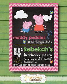 Peppa Pig Birthday Invitation Chalkboard  by GingerSnapPrintables