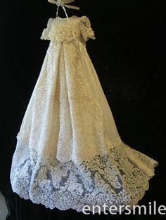 Vintage Infant Girls Sheer Lace White/Ivory Baptism Rope Christening Gown Dress #Unbranded #Gown