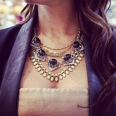 How gorgeous is our Gold Sutton Necklace mixed with the Black Rory Necklace? Can you say, Holiday Party Outfit!? | Stella & Dot