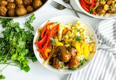 File this one under: Must Try. Hawaiian Turkey Meatball Noodle Bowls make dinner delicious! #NationalPastaMonth #FarmRich