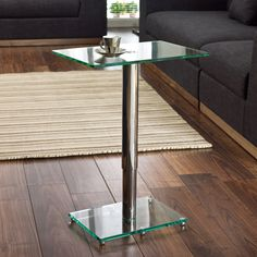 Click to zoom - Tomasz adjustable rectangular side table clear