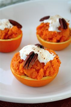 Sweet Potato Orange Cups (Pretty side for Thanksgiving Dinner) Best Thanksgiving Side Dishes, Thanksgiving Appetizers, Thanksgiving Recipes, Fall Recipes, Vegan Recipes, Appetizer Dips, Appetizer Recipes, All You Need Is, Bacon Wrapped Green Beans