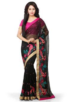 Buy Black Supernet Saree with Blouse online, work: Embroidered, color: Black, usage: Festival, category: Sarees, fabric: Art Silk, price: $74.50, item code: SDFA75, gender: women, brand: Utsav