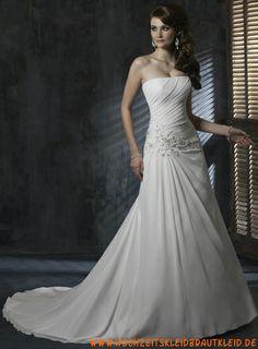 blumig Ballkleid Stil geraffte Oberteil und leicht plissiert A-Linie Rock Hochzeit Kleider