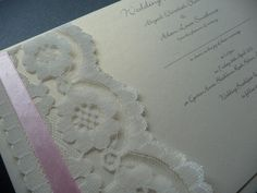 Ivory, Lace and Pink ribbon themed invitations