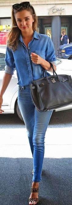 Who made Miranda Kerr's blue skinny jeans, denim button down shirt, black sunglasses, tote handbag, and leopard print sandals that she wore in New York sax blue and leopard make a good combination!