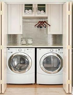 Image result for converting a closet into laundry room and office desk