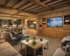 Contemporary Basement Rustic Ceiling Beams Design Pictures Remodel