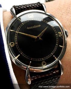 Jaeger leCoultre Vintage with teardrop lugs steel black dial