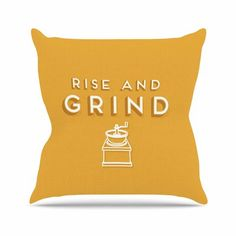 "East Urban Home Busy Bree Rise and Grind Gold Illustration Outdoor Throw Pillow Size: 16"" H x 16"" W x 5"" D"