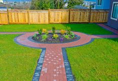 Red pavers walkway landscaping design