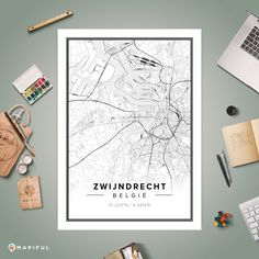 A map poster from Mapiful.com. A creative DIY tool to make your own map poster. This is 'Zwijndrecht'