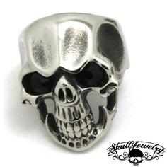 Skull Ring with Black Gem Stones