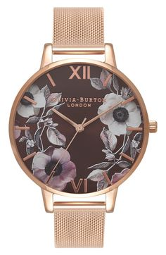 Ornate pastel flowers bring the dial of this watch to life. Accented with rose gold hardwear.