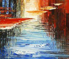 Résumé Cityscape peinture horizon urbain ville Waterdront