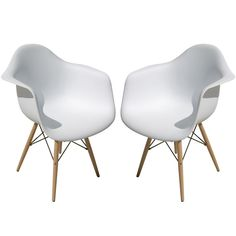 One Pair Eames Style Shell Chairs With Wood Base