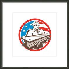 Construction Steel Worker I-beam Usa Flag Circle Framed Print By Aloysius Patrimonio