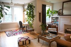 built-ins, vintage finds, moroccan textiles + hanging plants
