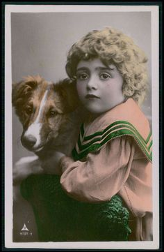 Deco Blond Child Boy Border Collie Dog original vintage old 1920s photo postcard