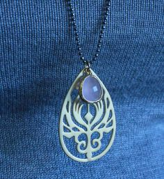 Teardrop Peacock Necklace with Pink Framed by lizaslittlethings, $20.00