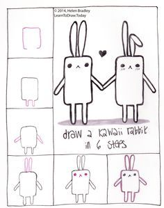 Learn to draw a kawaii bunny in 6 steps