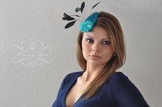 Headpieces & Fascinators - Petrol Haarreif Headpiece Fascinator Mini Hut - ein Designerstück von PrincessMimi bei DaWanda