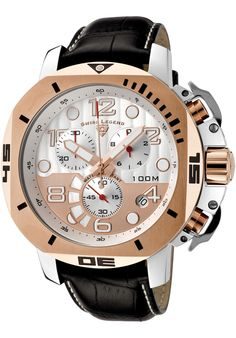 Swiss Legend Watches Scubador Chrono Black Genuine Leather Silver-Tone and Gold-Tone Dial Black Leather Watch, Brown Leather, Tear, Cool Watches, Wrist Watches, Stainless Steel Watch, Chronograph, Mens Fashion, Stuff To Buy