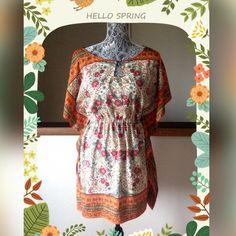 Zara TRF Silk Tunic Sz M Amazing silk Zara TRF Tunic.  Beautiful warm colors in fab patterns throughout.  Perfect for spring.  Size medium.  Excellent condition! Zara Tops Tunics