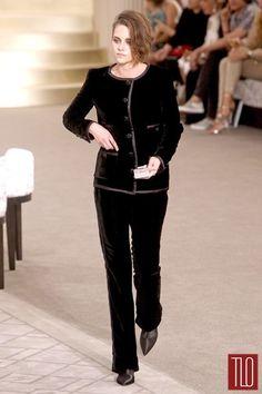 CHANEL celebrity runway black classic straight style velvet pants 42 US 8 10  #CHANEL #DressPants