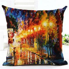 High Quality Creative Fashion Scenic Houseware Cojines Sofa Cushion Almofadas Cotton Linen Square