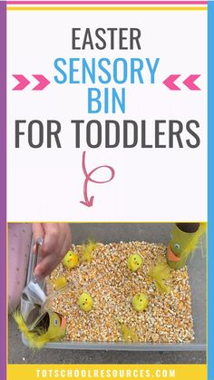 Easter Chick Sensory Bin - Toddlers will love this feeding chickens sensory bin. It's great for an easter sensory bin, learn - Easter Activities For Preschool, Farm Animals Preschool, Farm Animal Crafts, Sensory Activities Toddlers, Farm Activities, Toddler Preschool, Spring Activities, Toddler Sensory Bins, Sensory Play